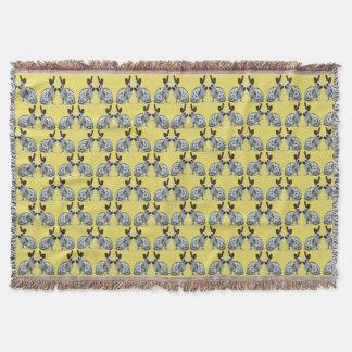 English Bunny Frenzy Throw Blanket (Yellow)