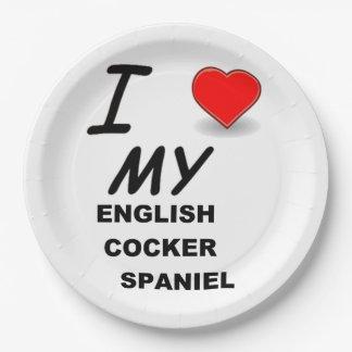 english cocker sp love paper plate