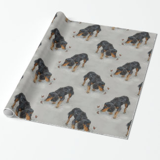 English Cocker Spaniel and butterflies art. Wrapping Paper