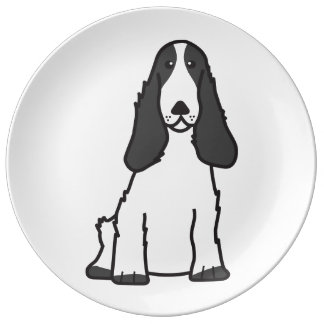 English Cocker Spaniel Dog Cartoon Plate