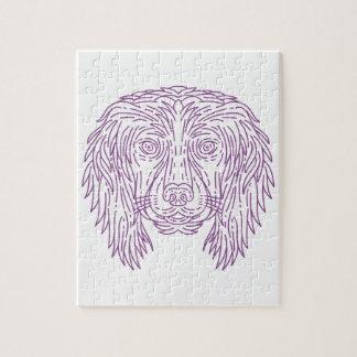 English Cocker Spaniel Dog Head Mono Line Jigsaw Puzzle