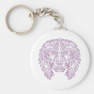 English Cocker Spaniel Dog Head Mono Line Key Ring