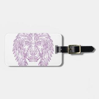 English Cocker Spaniel Dog Head Mono Line Luggage Tag
