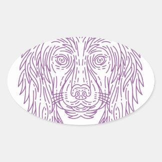 English Cocker Spaniel Dog Head Mono Line Oval Sticker
