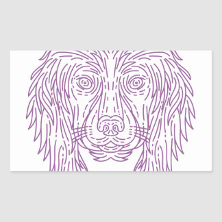 English Cocker Spaniel Dog Head Mono Line Rectangular Sticker