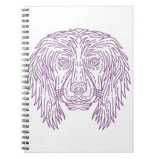 English Cocker Spaniel Dog Head Mono Line Spiral Notebooks