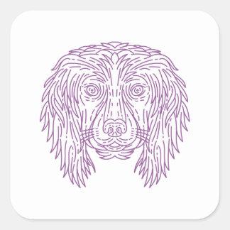 English Cocker Spaniel Dog Head Mono Line Square Sticker