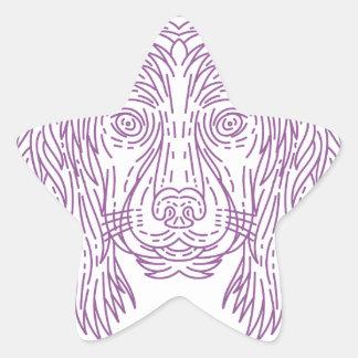 English Cocker Spaniel Dog Head Mono Line Star Sticker