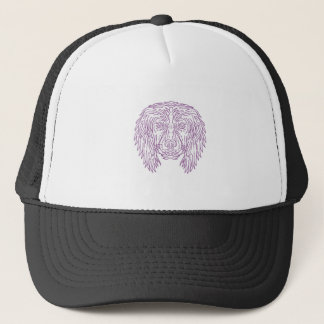 English Cocker Spaniel Dog Head Mono Line Trucker Hat