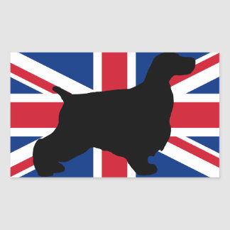 english cocker spaniel silhouette flag rectangular sticker
