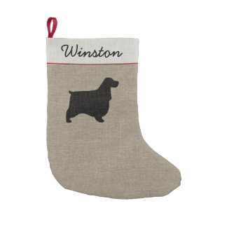 English Cocker Spaniel Silhouette with Custom Text Small Christmas Stocking