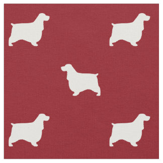 English Cocker Spaniel Silhouettes Pattern Red Fabric