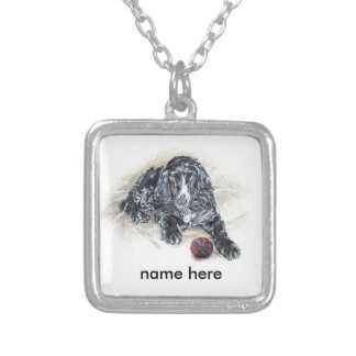 English Cocker Spaniel with Cricket Ball painting Square Pendant Necklace