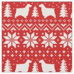 English Cocker Spaniels Christmas Pattern Red Fabric