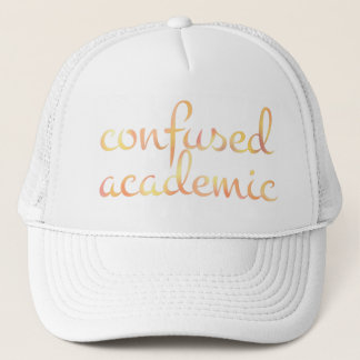 English CONFUSED ACADEMIC in Watercolor Trucker Hat