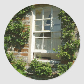 English Cottage I Vine-Covered Wall Photography Round Sticker