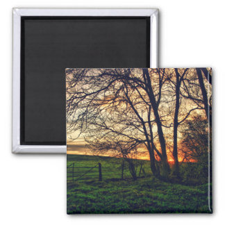 English Countryside Sunset HDR art fridge magnet