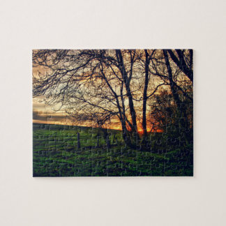 English Countryside Sunset HDR art Jigsaw Puzzle