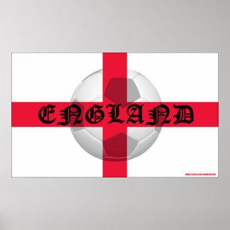 English Flag with England text and Football Poster