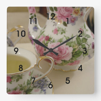 English Floral Teapot Teacup Wall Clcok Square Wall Clock