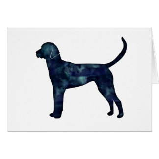 English Foxhound Black Watercolor Dog Silhouette Card