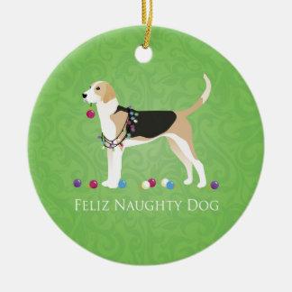 English Foxhound Christmas - Feliz Naughty Dog Ceramic Ornament