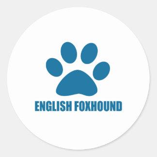 ENGLISH FOXHOUND DOG DESIGNS CLASSIC ROUND STICKER