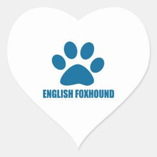 ENGLISH FOXHOUND DOG DESIGNS HEART STICKER