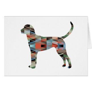 English Foxhound Geometric Pattern Dog Silhouette Card