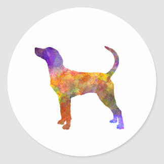 English Foxhound in watercolor Classic Round Sticker