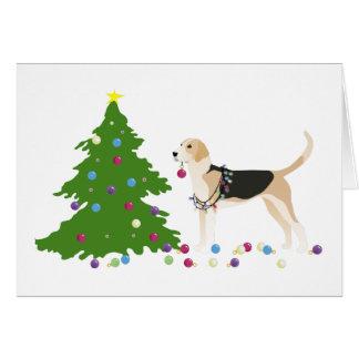 English Foxhound Silhouette Christmas Design Card