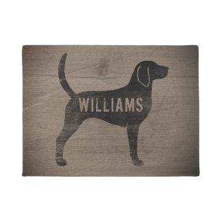 English Foxhound Silhouette Custom Doormat