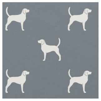 English Foxhound Silhouettes Pattern Fabric