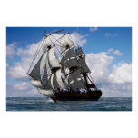 English frigate in fair weather print