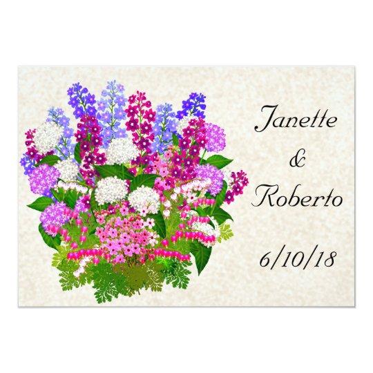English Garden Floral Bouquet Wedding Invitation
