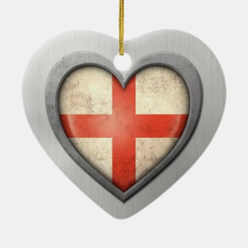 English Heart Flag Stainless Steel Effect Christmas Ornaments