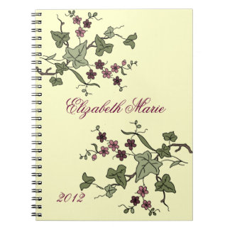 English Ivy & Purple Flowers-Name Spiral Notebook