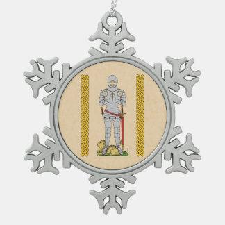English Knight, Circa 1430 Snowflake Pewter Christmas Ornament