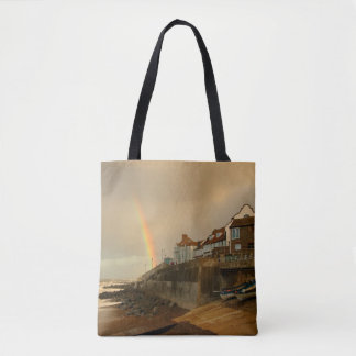 English landscape with rainbaw tote bag
