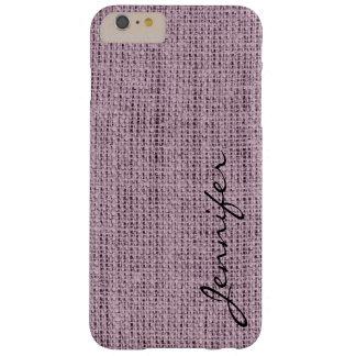 English lavender Burlap Rustic Linen Monogram Barely There iPhone 6 Plus Case