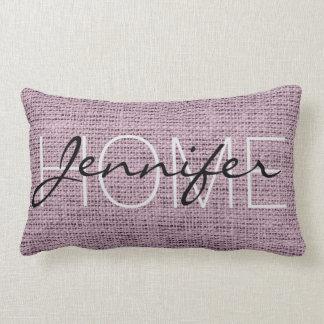 English lavender Burlap Rustic Monogram Lumbar Pillow