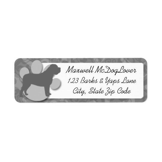 English Mastiff Silhouette Return Address Label