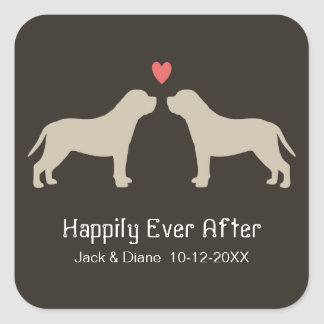 English Mastiff Silhouettes with Custom Text Square Sticker