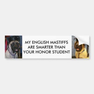 ENGLISH MASTIFFS ARE SMARTER BUMPER STICKER