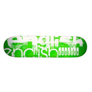 English; Neon Green Stripes Skateboard