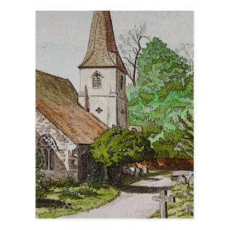 English pastoral scene postcard