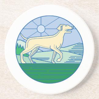 English Pointer Dog Mono Line Coaster