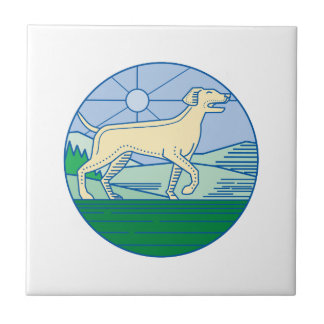 English Pointer Dog Mono Line Tile