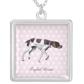 English Pointer dog necklace, gift idea Square Pendant Necklace