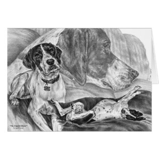 English Pointer Dogs Drawing by Kelli Swan Card